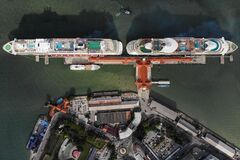 Free Aerial View Of Two Huge Cruise Ship Parked In Penang Port Royalty Free Stock Photo - 181990475