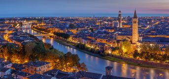 Free Aerial View Of Verona City Night Cityscape And Church Santa Anastasia, With Adige River , Located In Veneto, Italy, Viewed From Stock Photo - 117748280