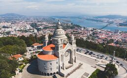 Free Aerial View Of Viana Do Castelo, Norte Region, Portugal, With Basilica Santa Luzia Church, Shot From Drone Royalty Free Stock Photography - 168754337
