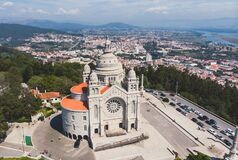 Free Aerial View Of Viana Do Castelo, Norte Region, Portugal, With Basilica Santa Luzia Church, Shot From Drone Royalty Free Stock Images - 168754349
