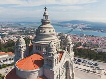 Free Aerial View Of Viana Do Castelo, Norte Region, Portugal, With Basilica Santa Luzia Church, Shot From Drone Royalty Free Stock Image - 168754366
