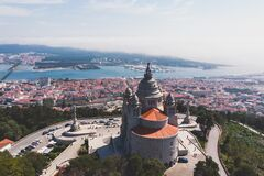 Free Aerial View Of Viana Do Castelo, Norte Region, Portugal, With Basilica Santa Luzia Church, Shot From Drone Stock Photography - 168754422
