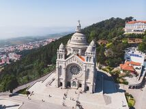 Free Aerial View Of Viana Do Castelo, Norte Region, Portugal, With Basilica Santa Luzia Church, Shot From Drone Stock Photos - 168754593