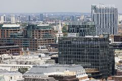 Aerial view with office buildings from London UK Royalty Free Stock Image