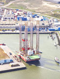 Aerial view on offshore island in harbour of IJmuiden Stock Images