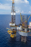 Aerial View of Offshore Jack Up Drilling Rig in The Middle of Th Royalty Free Stock Photo