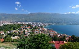 Aerial view of Ohrid Lake, city of Ohrid and mountains in the background. Royalty Free Stock Photography