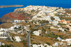 Aerial view  of Oia or Ia, Santorini, Greece Stock Images