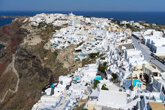 Aerial view of Oia in Santorini island, Greece Royalty Free Stock Photo