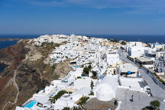 Aerial view of Oia in Santorini island, Greece Stock Image