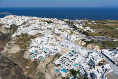 Aerial view of Oia in Santorini island, Greece Stock Photos