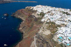 Aerial view of Oia in Santorini island, Greece Stock Images