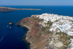 Aerial view of Oia in Santorini island, Greece Royalty Free Stock Image