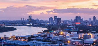 Aerial view of oil depot and oil tanks at Bangkok Port, is an international port on the Chao Phraya River in Bangkok capital city. Aerial view of oil depot and stock photo