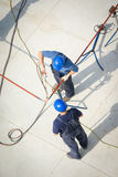 Aerial view of oil engineers Stock Photo