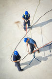 Aerial view of oil engineers Royalty Free Stock Photo