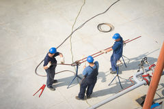 Aerial view of oil engineers Royalty Free Stock Image