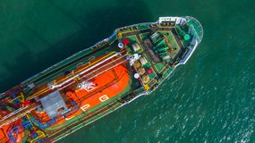 Aerial view oil and gas chemical tanker in open sea, Refinery Industry cargo ship.  royalty free stock photos
