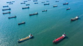 Aerial view oil and gas chemical tanker in open sea, Refinery Industry cargo ship.  stock photos