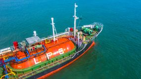Aerial view oil and gas chemical tanker in open sea, Refinery Industry cargo ship.  stock image