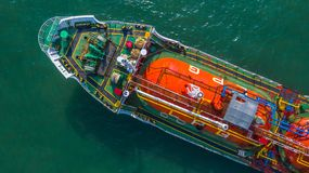 Aerial view oil and gas chemical tanker in open sea, Refinery Industry cargo ship.  stock images