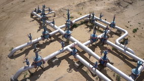 Aerial view of a oil and gas equipment,valves and pipelines