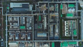 Aerial View Oil Plant Territory with Constructions Departments stock footage