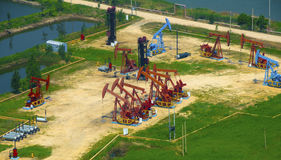 Aerial view of oil pumps. Stock Image