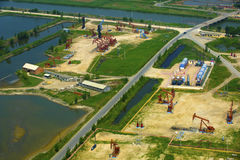 Aerial view of oil pumps. Royalty Free Stock Photography