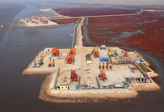 Aerial view of oil pumps. Stock Photos