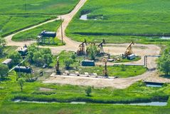 Aerial view of oil pumps Stock Images