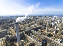 Aerial view of Oil refinery stock photo