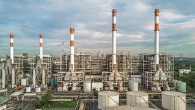 Aerial view oil refinery Stock Images