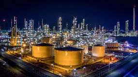 Aerial view oil refinery Royalty Free Stock Images