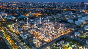 Aerial view oil refinery, refinery plant, refinery factory at night.  royalty free stock photos