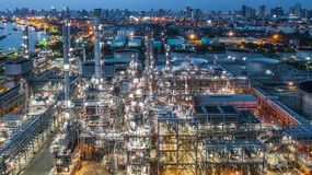 Aerial view oil refinery, refinery plant, refinery factory at night.  stock photo