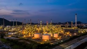 Aerial view oil refinery plant factory at twilight.  royalty free stock images