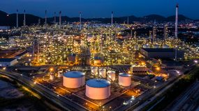 Aerial view oil refinery plant factory at twilight.  royalty free stock photos