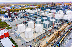 Aerial view on oil refinery plant. Tyumen. Russia. Tyumen, Russia - September 25, 2015: Bird eye view onto Antipino oil refinery factory royalty free stock photo