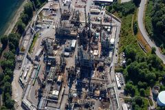 Aerial view of oil refinery in Port Moody. Greater Vancouver, BC, Canada stock photography