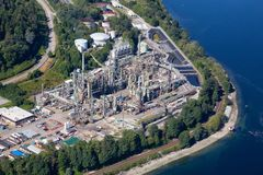 Aerial view of oil refinery in Port Moody. Greater Vancouver, BC, Canada royalty free stock photography