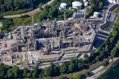 Aerial view of oil refinery in Port Moody. Greater Vancouver, BC, Canada royalty free stock image