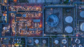 Aerial view oil refinery, refinery plant, refinery factory at night.  royalty free stock photo