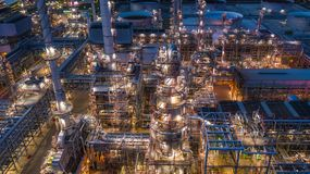 Aerial view oil refinery, refinery plant, refinery factory at night.  stock image