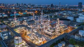 Aerial view oil refinery, refinery plant, refinery factory at night.  royalty free stock photography