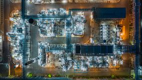 Aerial view oil refinery, refinery plant, refinery factory at night.  stock photography