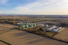 Aerial view of oil storage stock photography