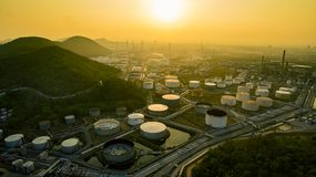 Aerial view of oil storage tank in petrochemical industries plan stock images