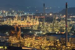 Aerial view oil storage tank with oil refinery background, Oil refinery plant at night royalty free stock image