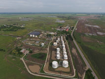 Aerial view of oil storage tanks. Industrial facility for the storage and separation of oil Stock Photo